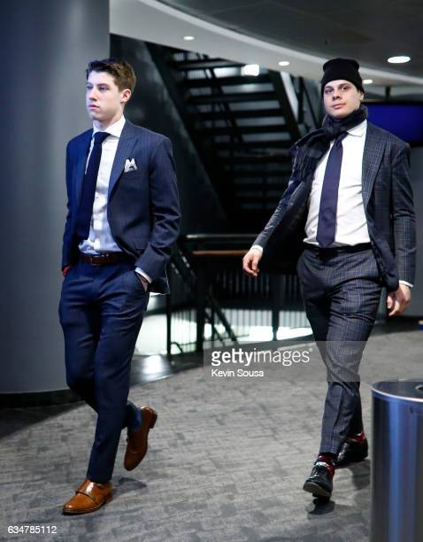 Mitch Marner and Auston Matthews of the Toronto Maple Leafs arrive at the Air Canada Centre to face the Buffalo Sabres on February 11 2017 in Toronto...