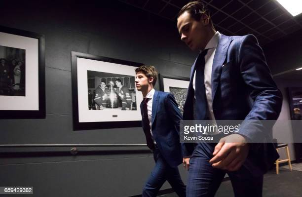 Mitch Marner and Auston Matthews of the Toronto Maple Leafs arrive at the Air Canada Centre before facing the Florida Panthers on March 28 2017 in...