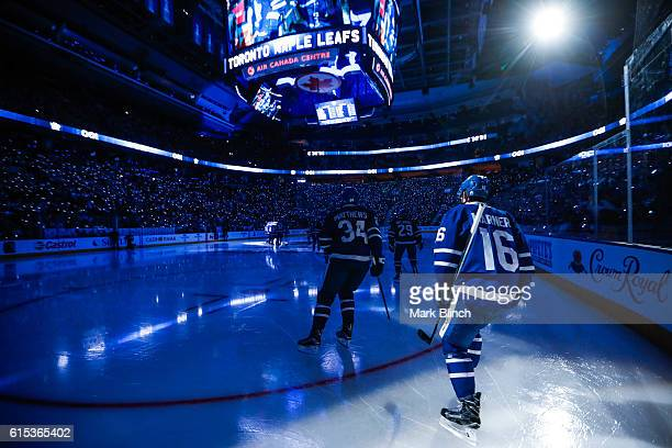 Mitch Marner and Auston Matthews of the Toronto Maple Leafs take the ice against the Boston Bruins at the Air Canada Centre on October 15 2016 in...