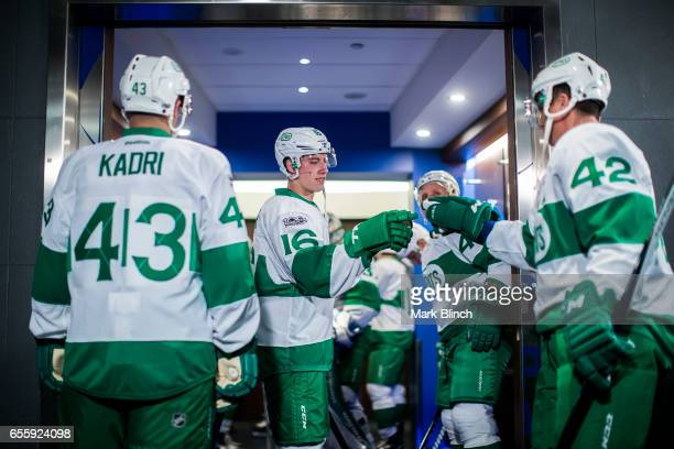 Mitch Marner and Tyler Bozak of the Toronto Maple Leafs come out of the dressing room prior to the game agains the Chicago Blackhawks at the Air...