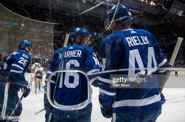 Mitch Marner Morgan Rielly and James van Riemsdyk of the Toronto Maple Leafs celebrate a goal by Nazem Kadri against the Vegas Golden Knights during...