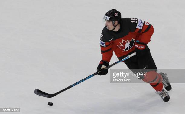 Mitch Marner of Canada in action during the 2017 IIHF Ice Hockey World Championship game between Canada and Finland at AccorHotels Arena on May 16...
