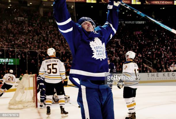 Mitch Marner of the Toronto Maple Leafs celebrates his goal against the Buffalo Sabres during the second period at the Air Canada Centre on February...