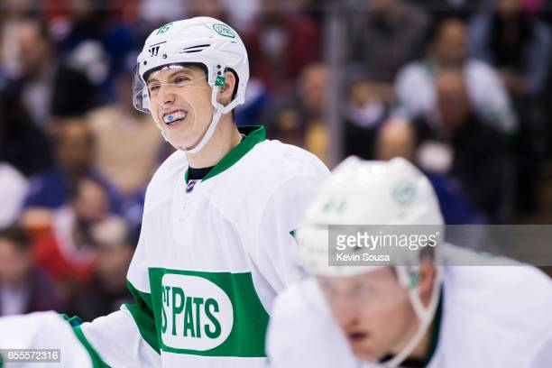 Mitch Marner of the Toronto Maple Leafs during an NHL game against Chicago Blackhawks during the third period at the Air Canada Centre on March 18...