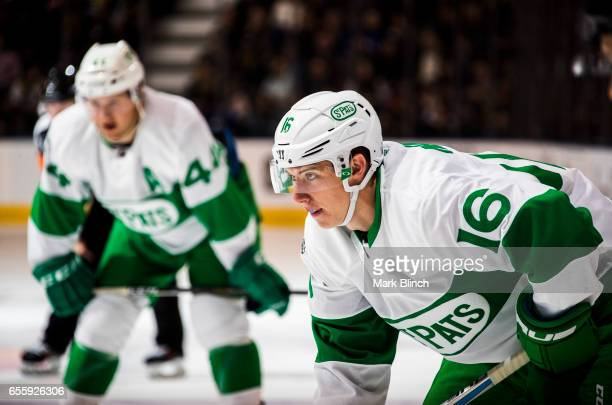 Mitch Marner of the Toronto Maple Leafs gets ready for a face off against the Chicago Blackhawks during the first period at the Air Canada Centre on...