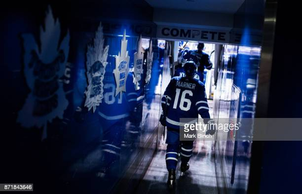 Mitch Marner of the Toronto Maple Leafs heads to the ice for arm up before facing the Minnesota Wild at the Air Canada Centre on November 8 2017 in...