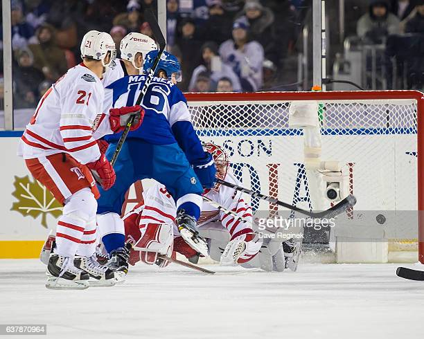 Mitch Marner of the Toronto Maple Leafs scores a goal on Jared Coreau of the Detroit Red Wings during the 2017 Scotiabank NHL Centennial Classic at...