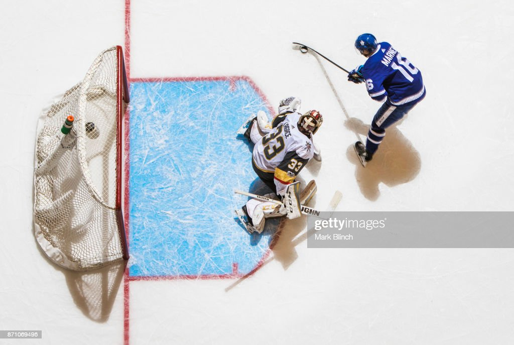 Mitch Marner #16 of the Toronto Maple Leafs shoots and scores the game winning goal during a shoot out against the Vegas Golden Knights at the Air Canada Centre on November 6, 2017 in Toronto, Ontario, Canada.