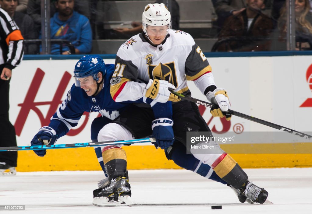 Mitch Marner #16 of the Toronto Maple Leafs skates against Cody Eakin #21 of the Vegas Golden Knights during the third period at the Air Canada Centre on November 6, 2017 in Toronto, Ontario, Canada.