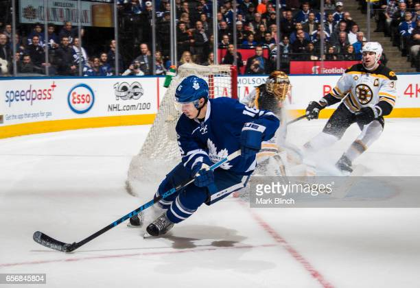 Mitch Marner of the Toronto Maple Leafs skates against the Boston Bruins during the third period at the Air Canada Centre on March 20 2017 in Toronto...