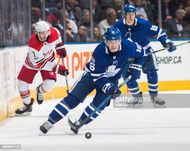 Mitch Marner of the Toronto Maple Leafs skates against the Carolina Hurricanes during the first period at the Air Canada Centre on October 26 2017 in...