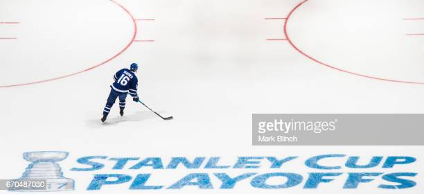Mitch Marner of the Toronto Maple Leafs skates in the warm up prior to the game against the Washington Capitals in Game Three of the Eastern...