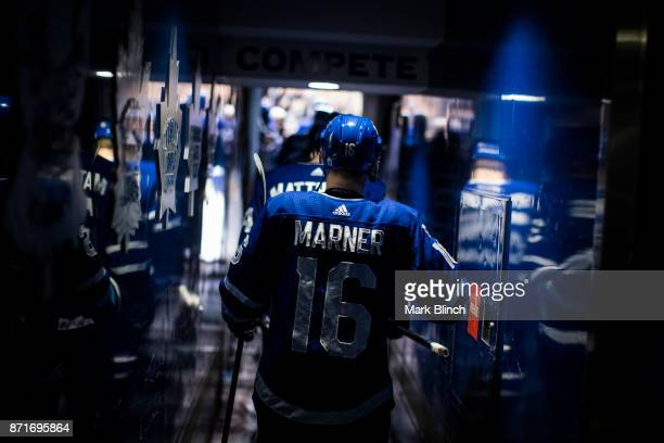 Mitch Marner of the Toronto Maple Leafs walks to the ice prior to the game against the Vegas Golden Knights at the Air Canada Centre on November 6...
