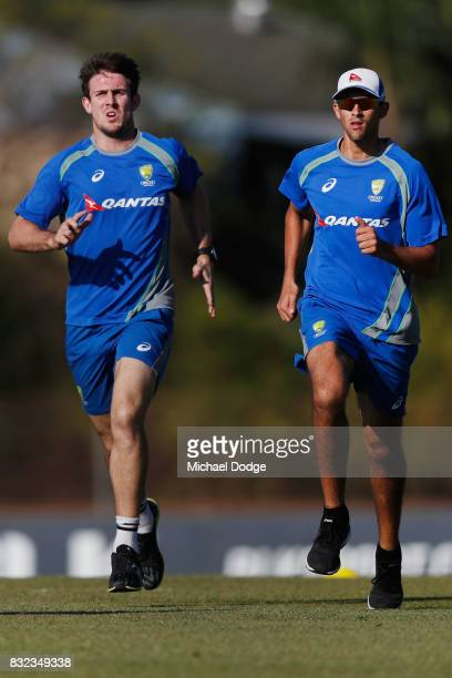 Mitch Marsh and Ashton Agar perforem some run throughs during day two of the Australian Test cricket intersquad match at Marrara Cricket Ground on...