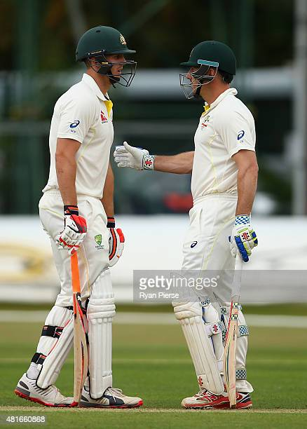 Mitch Marsh and Shaun Marsh of Australia bat together during day one of the Tour Match between Derbyshire and Australia at The 3aaa County Ground on...