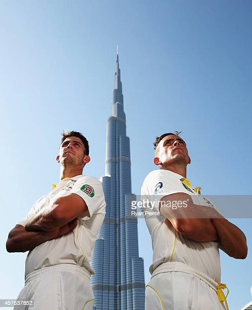 Mitch Marsh and Steve O'Keefe of Australia pose at the Burj Khalifa the World's Tallest Building on October 20 2014 in Dubai United Arab Emirates