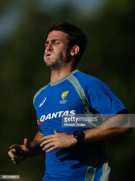 Mitch Marsh catches his breath after some run throughs during day two of the Australian Test cricket intersquad match at Marrara Cricket Ground on...
