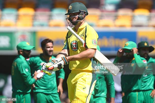 Mitch Marsh leaves the field after being dismissed by Imad Wasim of Pakistan during game one of the One Day International series between Australia...