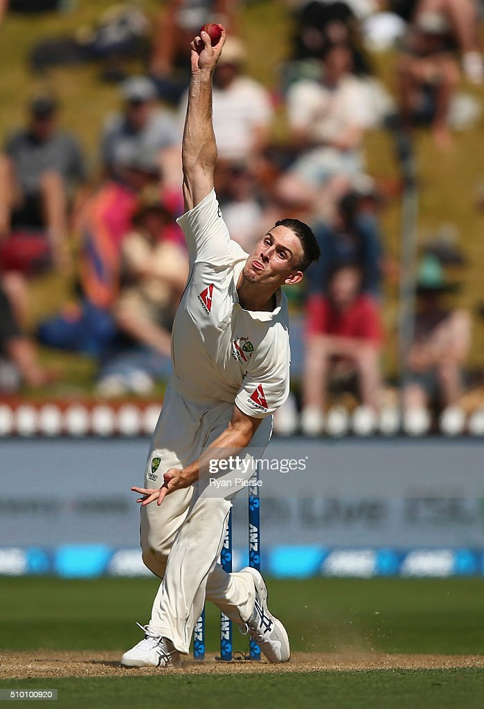 Mitch Marsh of Australia bowls during day three of the Test match between New Zealand and Australia at Basin Reserve on February 14, 2016 in Wellington, New Zealand.