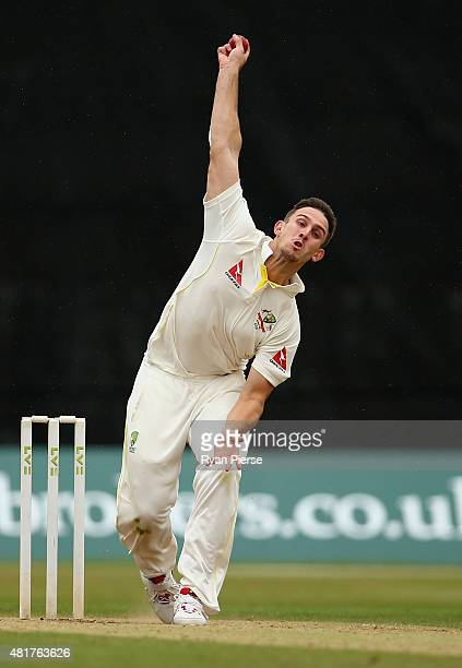 Mitch Marsh of Australia bowls during day two of the Tour Match between Derbyshire and Australia at The 3aaa County Ground on July 24 2015 in Derby...