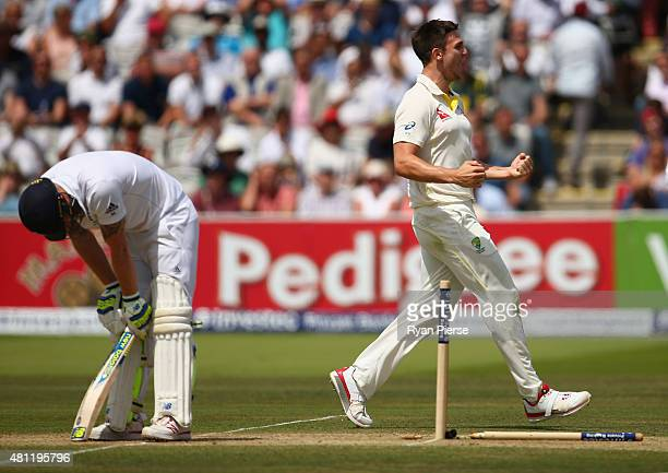Mitch Marsh of Australia celebrates after taking the wicket of Ben Stokes of England during day three of the 2nd Investec Ashes Test match between...