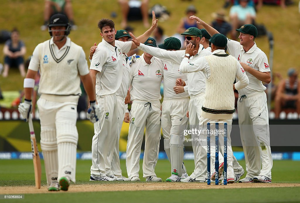 Mitch Marsh of Australia celebrates after taking the wicket of <a gi-track='captionPersonalityLinkClicked' href=/galleries/search?phrase=Corey+Anderson+-+Cricket+Player&family=editorial&specificpeople=12457249 ng-click='$event.stopPropagation()'>Corey Anderson</a> of New Zealand during day four of the Test match between New Zealand and Australia at Basin Reserve on February 15, 2016 in Wellington, New Zealand.
