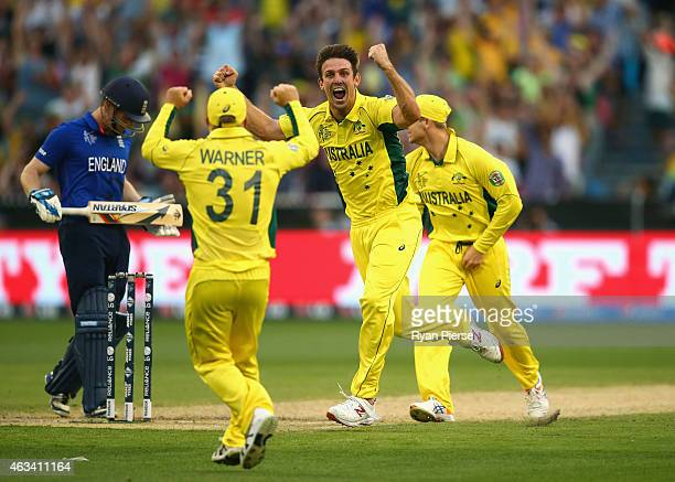 Mitch Marsh of Australia celebrates after taking the wicket of Joe Root of England during the 2015 ICC Cricket World Cup match between England and...