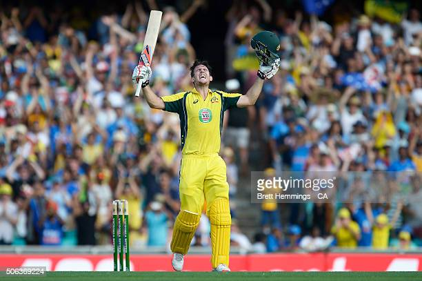 Mitch Marsh of Australia celebrates reaching his century during game five of the Commonwealth Bank One Day Series match between Australia and India...