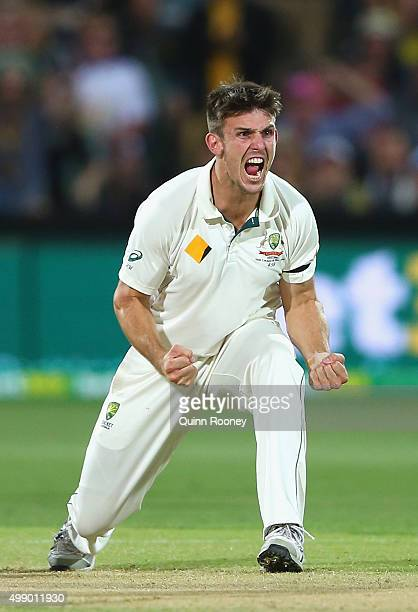 Mitch Marsh of Australia celebrates taking the wicket of Brendon McCullum of New Zealand during day two of the Third Test match between Australia and...