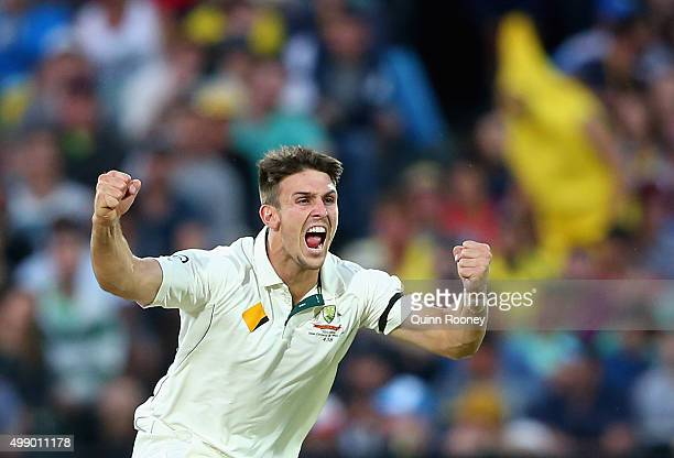 Mitch Marsh of Australia celebrates taking the wicket of Kane Williamson of New Zealand during day two of the Third Test match between Australia and...