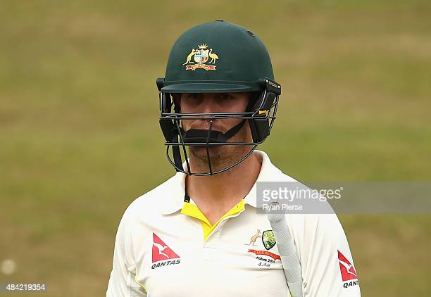 Mitch Marsh of Australia looks dejected after being dismissed by Richard Gleeson of Northamptonshire during day three of the tour match between...