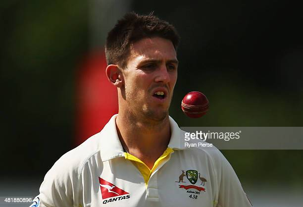 Mitch Marsh of Australia prepares to bowl during day three of the Tour Match between Derbyshire and Australia at The 3aaa County Ground on July 25...