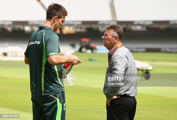 Mitch Marsh of Australia speaks to Australian Chairman of Selectors Rod Marsh during a nets session ahead of the 2nd Investec Ashes Test match...