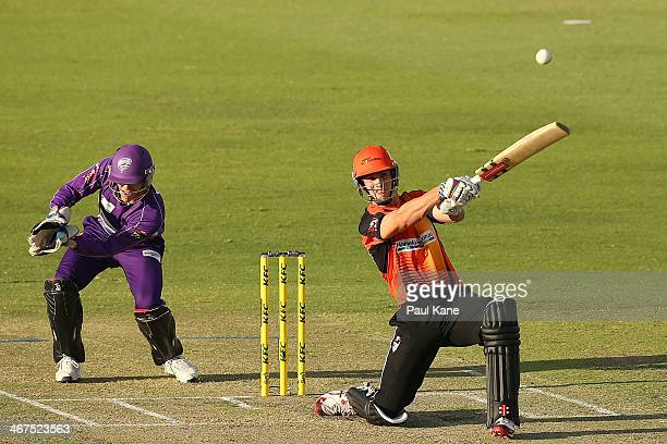 Mitch Marsh of the Scorchers bats during the Big Bash League Final match between the Perth Scorchers and the Hobart Hurricanes at the WACA on...