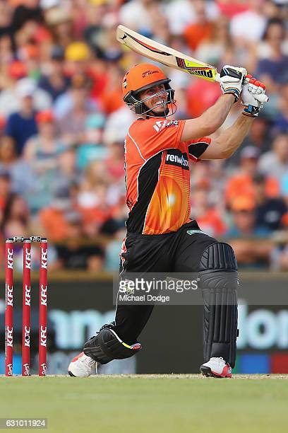 Mitch Marsh of the Scorchers bats during the Big Bash League match between the Perth Scorchers and the Brisbane Heat at WACA on January 5 2017 in...