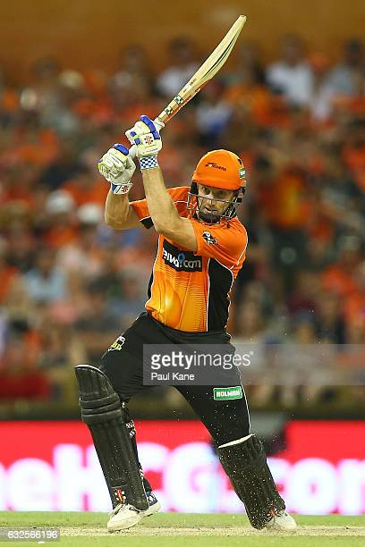 Mitch Marsh of the Scorchers bats during the Big Bash League match between the Perth Scorchers and the Melbourne Stars at the WACA on January 24 2017...