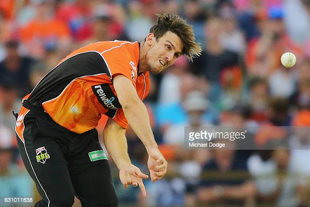 Mitch Marsh of the Scorchers bowls during the Big Bash League match between the Perth Scorchers and the Brisbane Heat at WACA on January 5 2017 in...