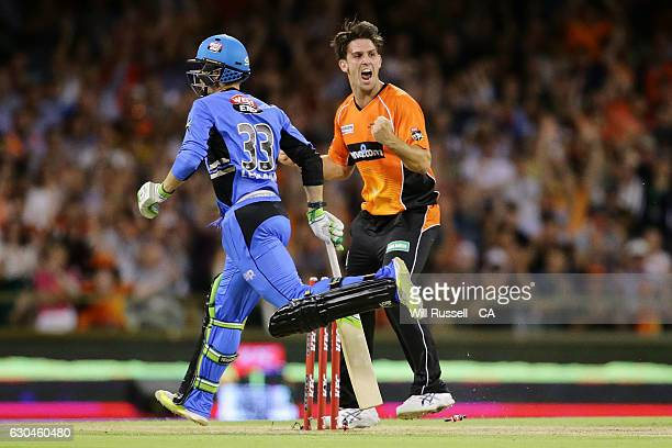 Mitch Marsh of the Scorchers celebrates the run out of Jake Lehmann of the Strikers during the Big Bash League between the Perth Scorchers and...
