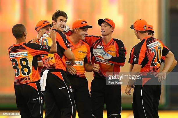 Mitch Marsh of the Scorchers celebrates the wicket of Ben Rohrer of the Renegades during the Big Bash League match between the Perth Scorchers and...