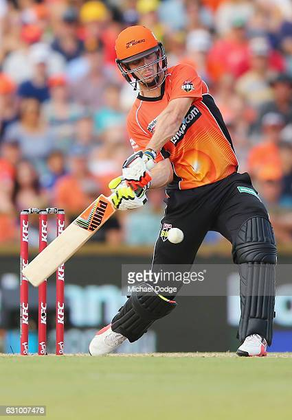 Mitch Marsh of the Scorchers is caught by Mark Steketee of the Heat from this stroke during the Big Bash League match between the Perth Scorchers and...