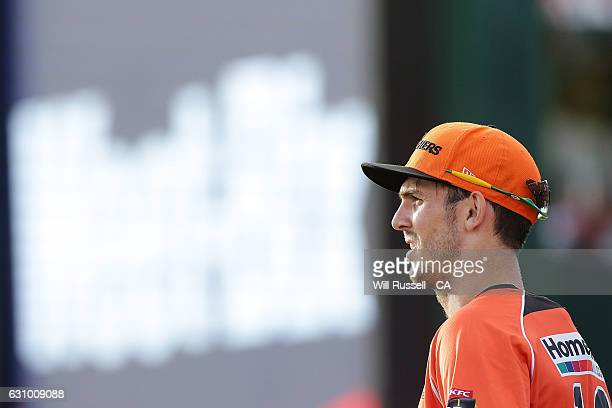 Mitch Marsh of the Scorchers looks on during the Big Bash League match between the Perth Scorchers and the Brisbane Heat at WACA on January 5 2017 in...