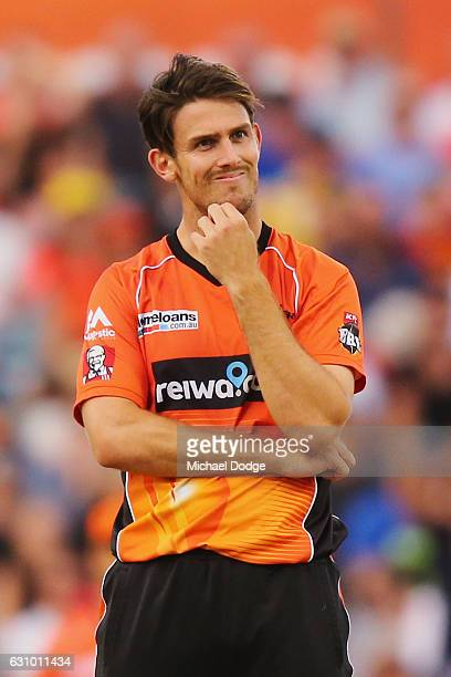 Mitch Marsh of the Scorchers reacts after Chris Lynn of the Heat hits a six during the Big Bash League match between the Perth Scorchers and the...