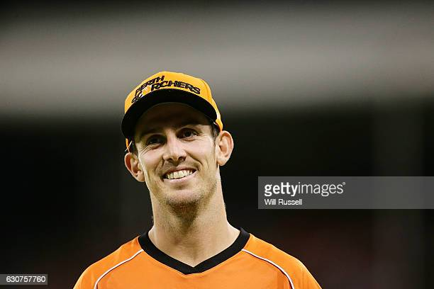 Mitch Marsh of the Scorchers smiles at the crowd during the Big Bash League match between the Perth Scorchers and Sydney Thunder at WACA on January 1...