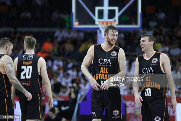 Mitch Mccarron and Nick Kay of Australia react during the 2017 SinoAustralia Men's International Basketball Challenge at DongfengNissan Culture...
