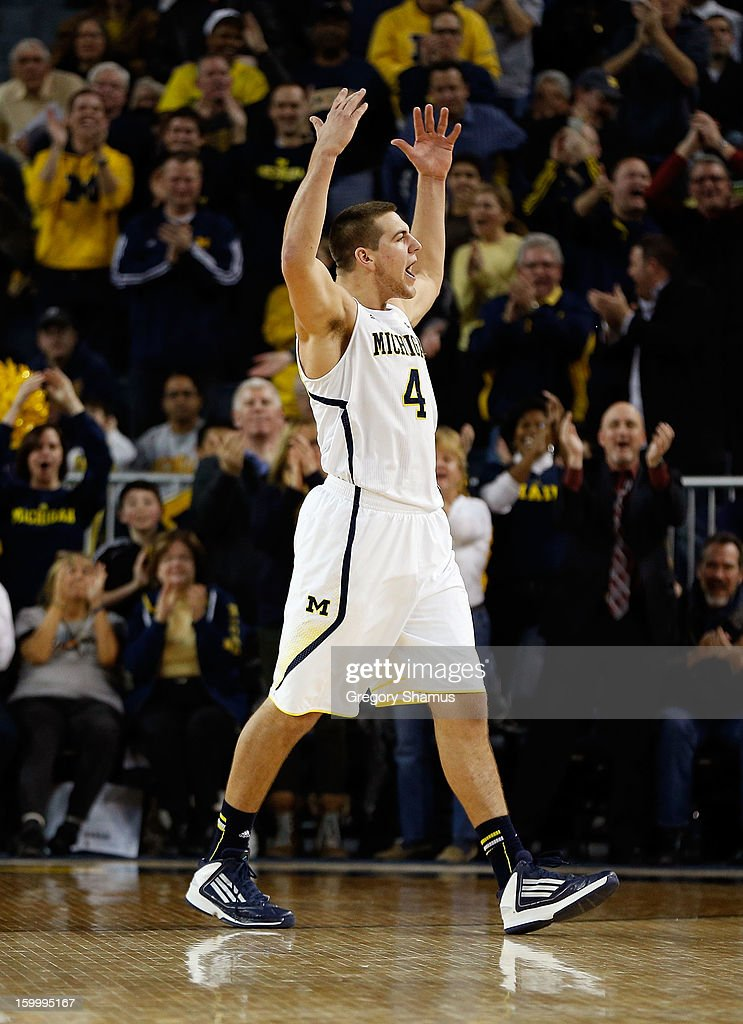 Mitch McGary #4 of the Michigan Wolverines reacts after a second half play while playing the Purdue Boilermakers at Crisler Center on January 24, 2013 in Ann Arbor, Michigan. Michigan won the game 68-53.