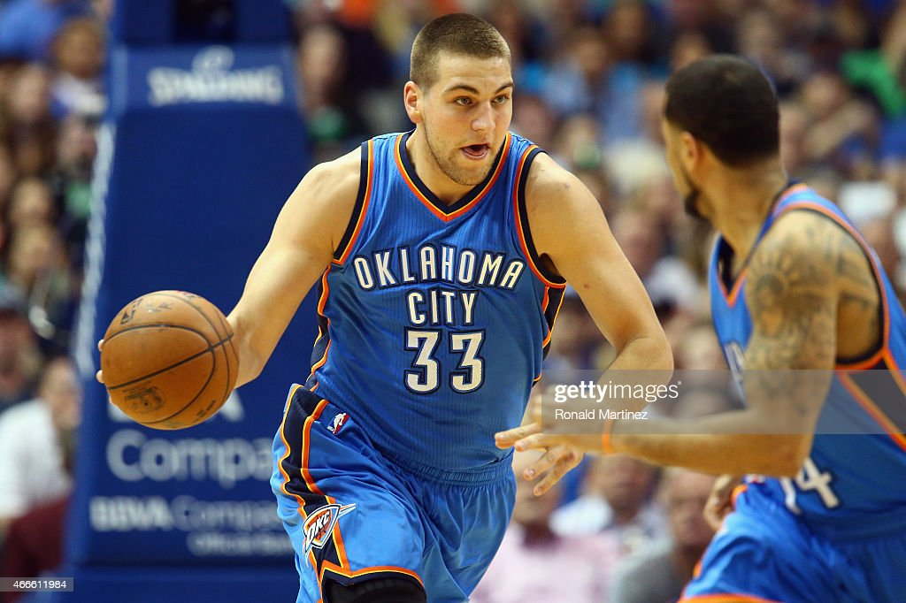 <a gi-track='captionPersonalityLinkClicked' href=/galleries/search?phrase=Mitch+McGary&family=editorial&specificpeople=7887132 ng-click='$event.stopPropagation()'>Mitch McGary</a> #33 of the Oklahoma City Thunder at American Airlines Center on March 16, 2015 in Dallas, Texas.
