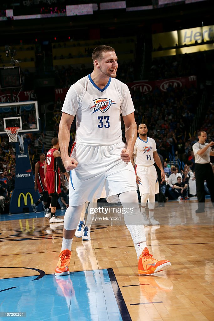 <a gi-track='captionPersonalityLinkClicked' href=/galleries/search?phrase=Mitch+McGary&family=editorial&specificpeople=7887132 ng-click='$event.stopPropagation()'>Mitch McGary</a> #33 of the Oklahoma City Thunder celebrates during a game against the Miami Heat on March 22, 2015 at Chesapeake Energy Arena in Oklahoma City, Oklahoma.