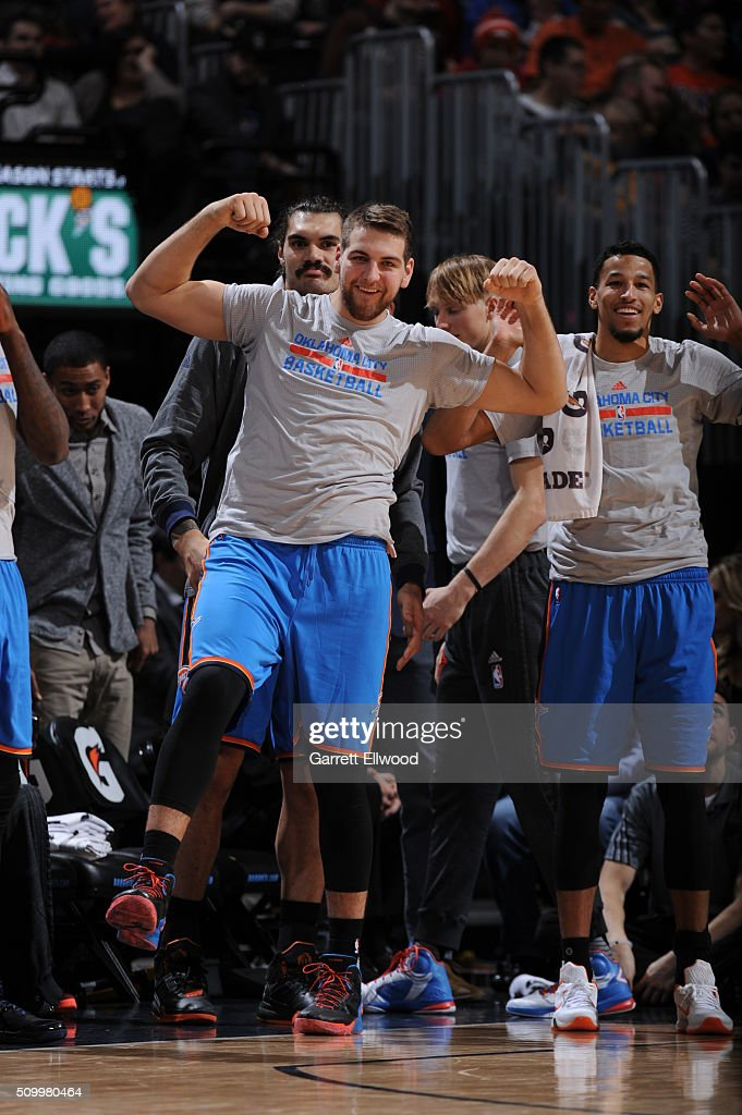 Mitch McGary #33 of the Oklahoma City Thunder celebrates from the bench during the game against the Denver Nuggets on January 19, 2016 at the Pepsi Center in Denver, Colorado.