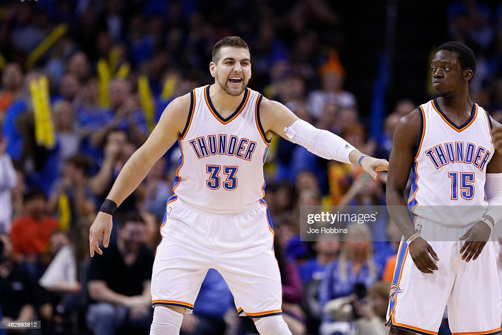 <a gi-track='captionPersonalityLinkClicked' href=/galleries/search?phrase=Mitch+McGary&family=editorial&specificpeople=7887132 ng-click='$event.stopPropagation()'>Mitch McGary</a> #33 of the Oklahoma City Thunder reacts during the second quarter of the game against the Los Angeles Clippers at Chesapeake Energy Arena on February 8, 2015 in Oklahoma City, Oklahoma.