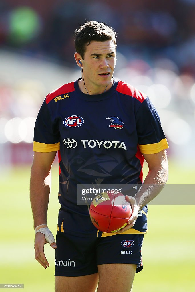 Mitch McGovern of the Crows warms up before the round six AFL match between the Adelaide Crows and the Fremantle Dockers at Adelaide Oval on April 30, 2016 in Adelaide, Australia.